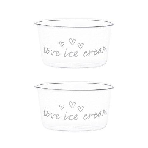 """Set 2 Coppette gelato """"Love ice cream"""""""