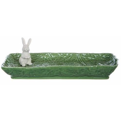 Piatto rettangolare con coniglietto