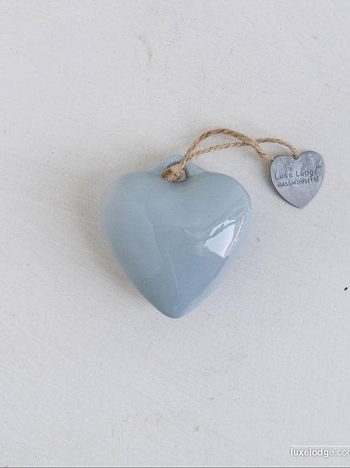 Decoro cuore in ceramica azzurro