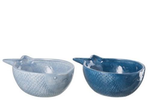Ciotola Pesce Ceramica Blu Chiaro/Blu Scuro