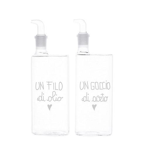 """Set 2 bottigliette """"Filo Olio-Goccio Aceto"""" 400ml"""