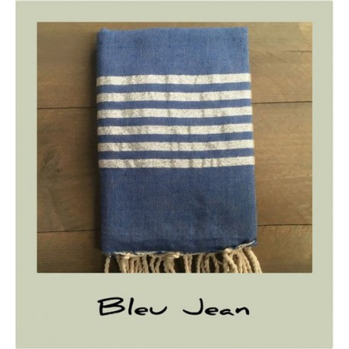 Telo mare blue jeans righe Lurex