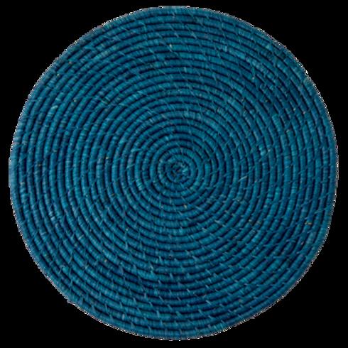 Tovaglietta tonda rafia Dark Blue