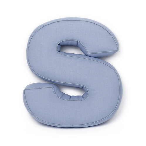 Cuscino Lettera in Cotone Azzurro