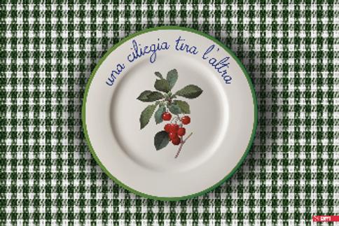 """Tovaglietta """"UNA CILIEGIA TIRA L'ALTRA"""""""