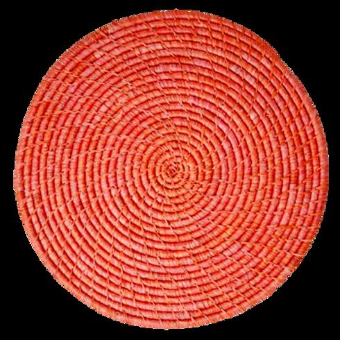 Tovaglietta tonda rafia Red