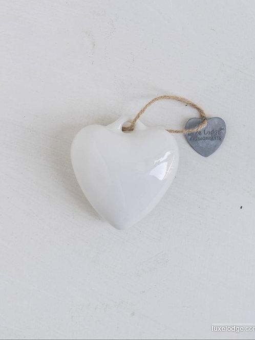 Decoro cuore in ceramica bianco