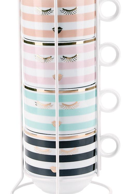 Tazze colazione Pastel in rack