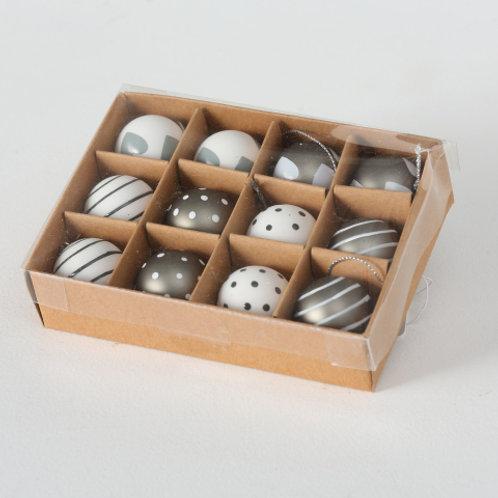 Set 12 sfere mini vetro bianche/bronzo