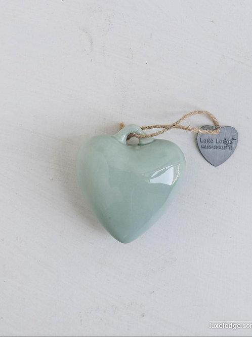 Decoro cuore in ceramica acquamarina