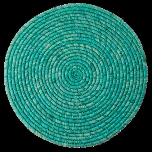 Tovaglietta tonda rafia Turquoise