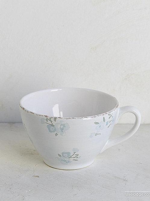 Tazza latte in ceramica fiorellini celesti