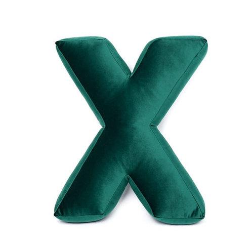 Cuscino Lettera in Velluto Verde