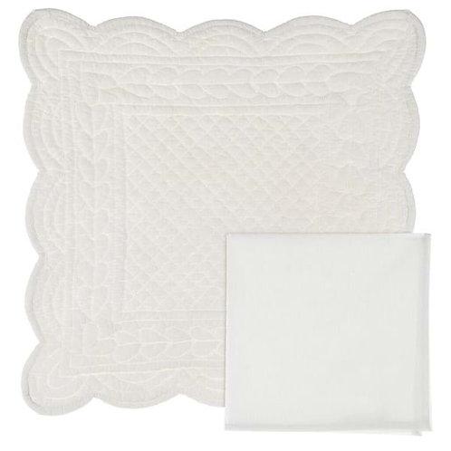 Tovaglietta con tovagliolo bianca