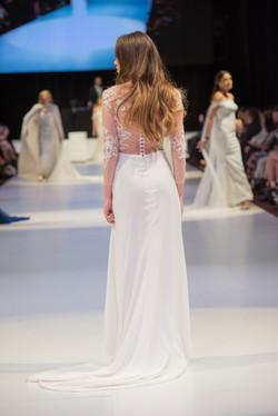 Sheer illusion lace wedding dress
