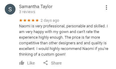 Google review from Samantha Taylor