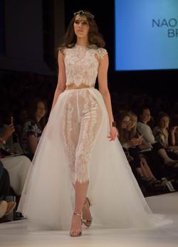 Sheer Lace Pants Top Wedding Dress
