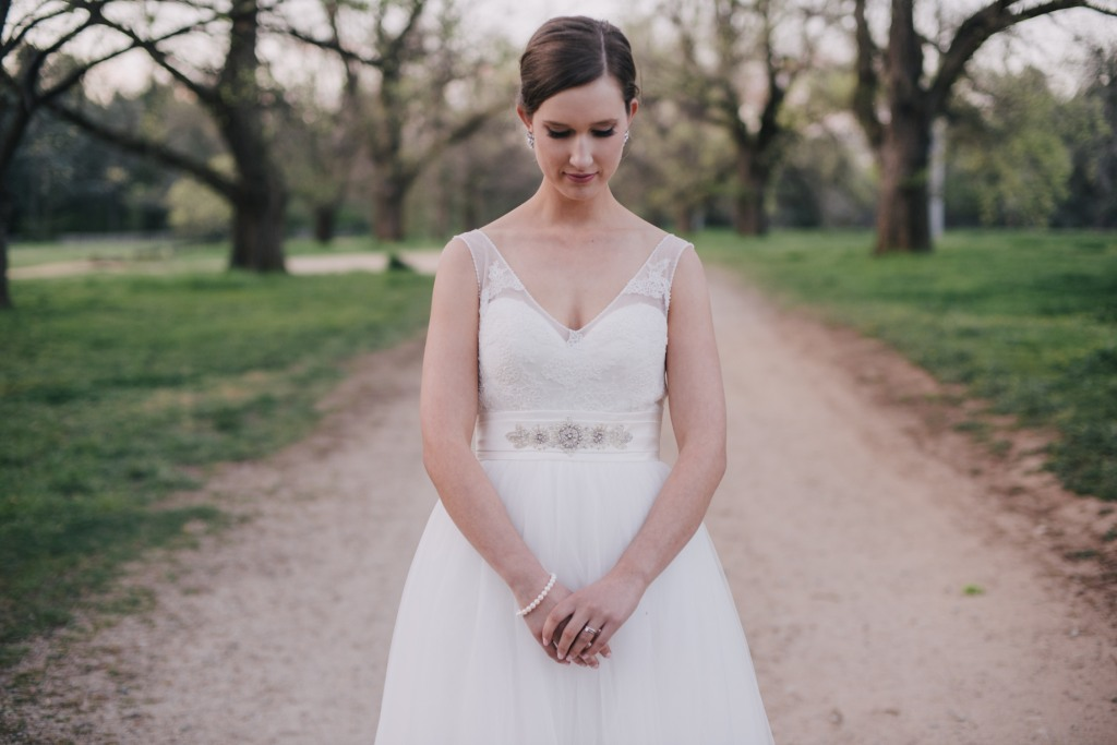 Custom designed tulle wedding dress