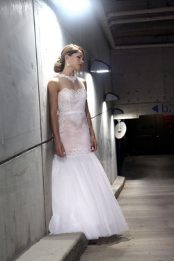 Nude Lace Tulle Wedding Dress