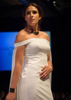 off the shoulder crepe wedding dress