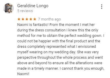 Google Review fron Geraldine Longo