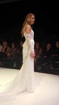 Beading lace wedding dress feathers