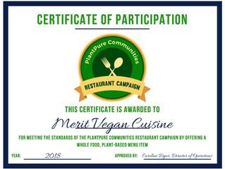 Merit Vegan Cuisine receives PlantPure cetification