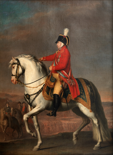Prince Regent of Portugal in red coat riding a horse