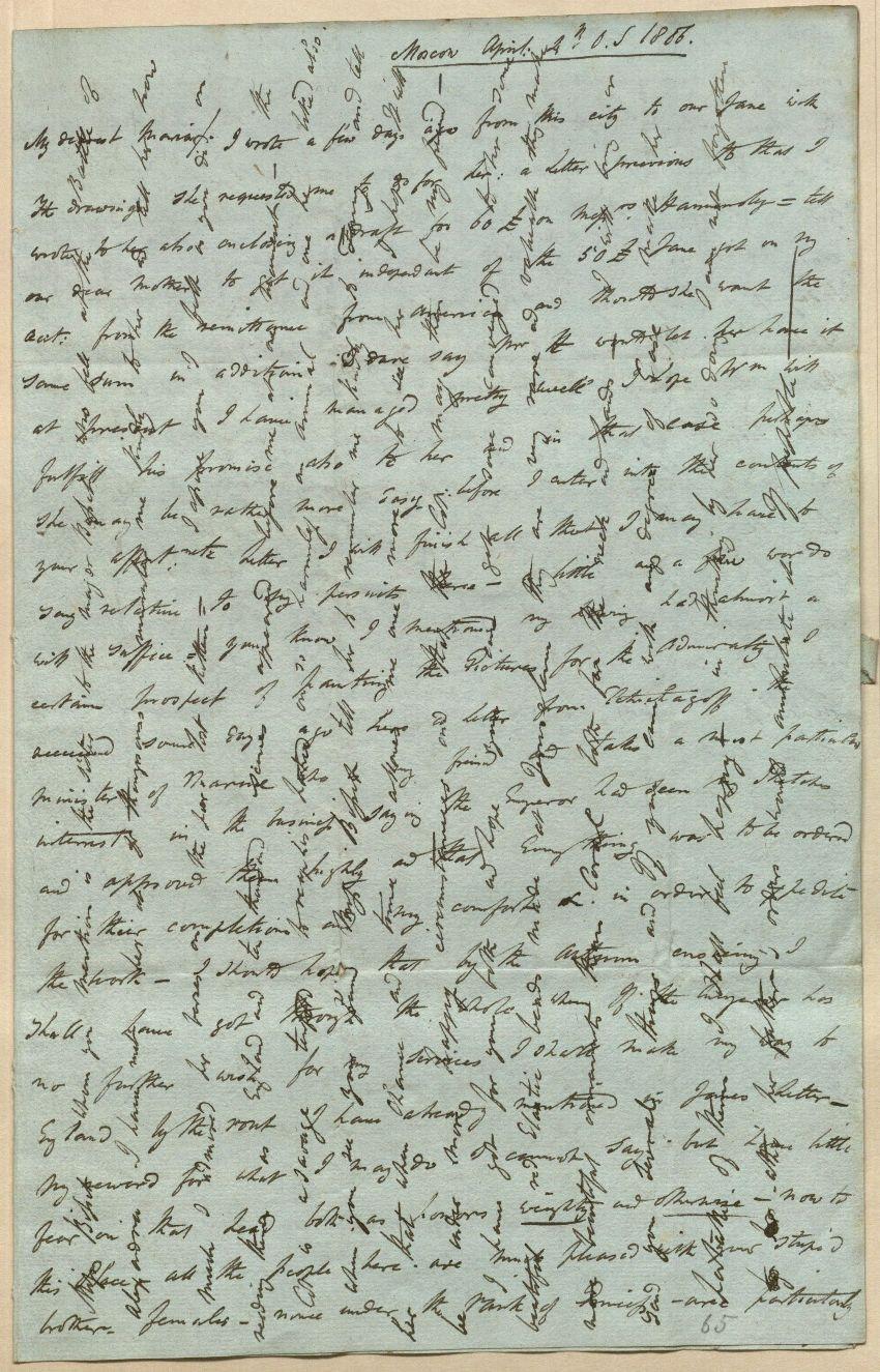 Handwritten crossed letter