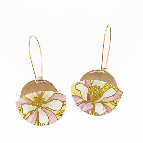 Vintage Tin Earrings, UFO, Kidney Wire, in Sunny Pink Flower