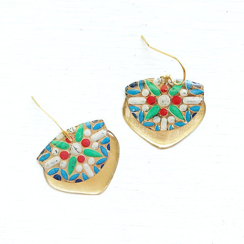 Vintage Tin Earrings, Resin Dangles, Gibbous Earrings in Colorful Burst