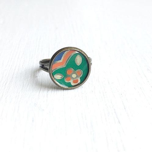 Vintage Tin Ring, Playful Bloom in Green, Orange and Blue