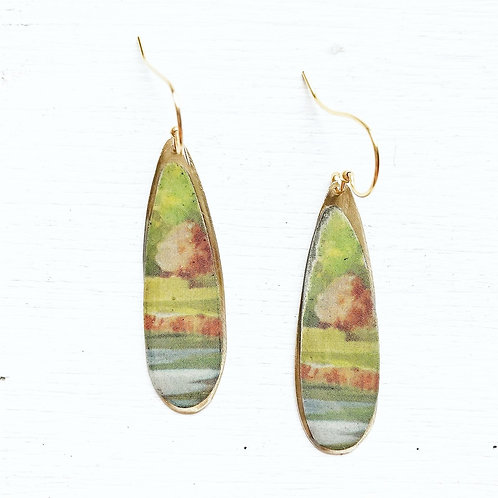 Vintage Tin Earrings, Resin Dangles, Skinny Drops in Soft Abstract Scene