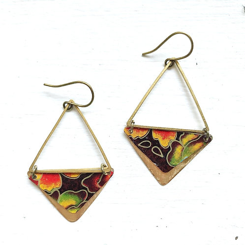 Vintage Tin Earrings, Brass Triangles in Abstract Floral in Fall Colors