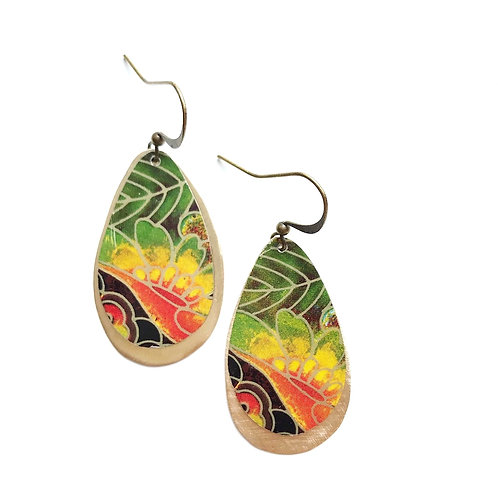 Vintage Tin Earrings, Large Drops with Gradient Design in Earth Colors