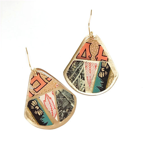 Vintage Tin Earrings, Mosaic Round Wing in Peach, Teal, Black and Orange