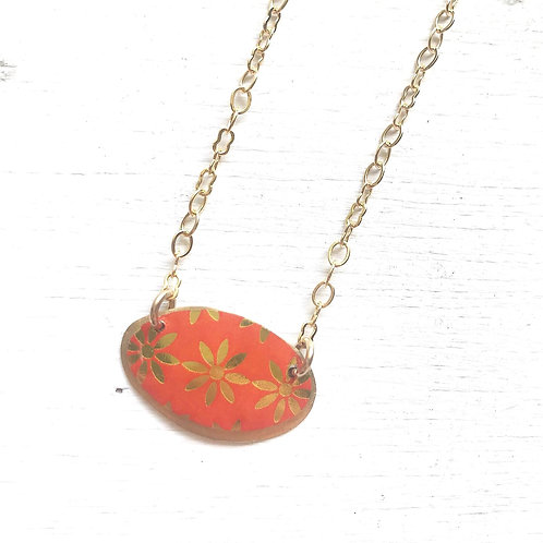 Vintage Tin Necklace, Domed Oval in Orange with Gold Stars