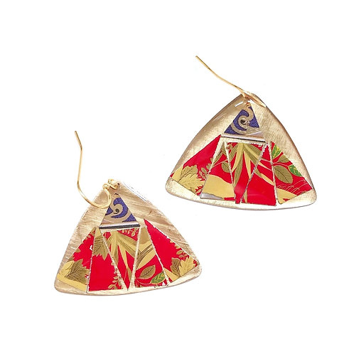 Vintage Tin Earrings, Mosaic Pointed Wing in Red, Gold and Purple