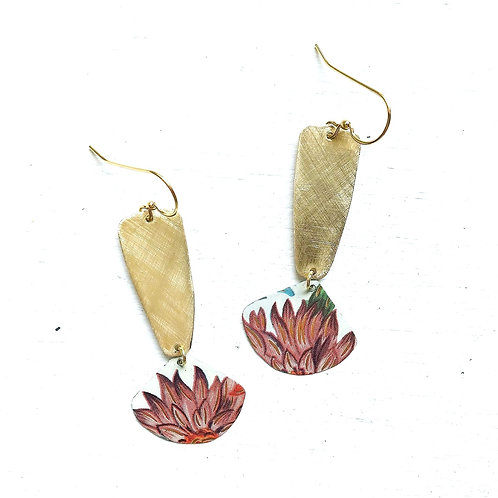 Vintage Tin Earrings, Long Brass Drop with Fan Dangle, Pointed Mauve Petals