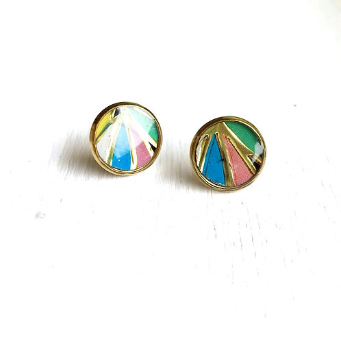Vintage Tin Earrings, Resin Studs in Pastel Sun Beams