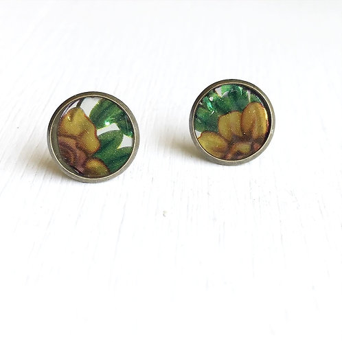 Vintage Tin Earrings, Resin Studs in Golden Rose