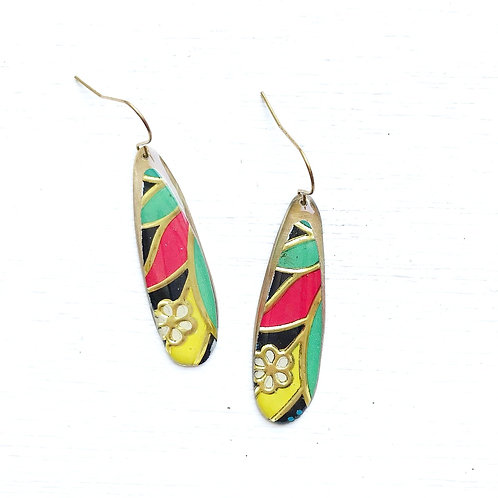 Vintage Tin Earrings, Resin Dangles, Skinny Drops in Red, Green, Yellow & White