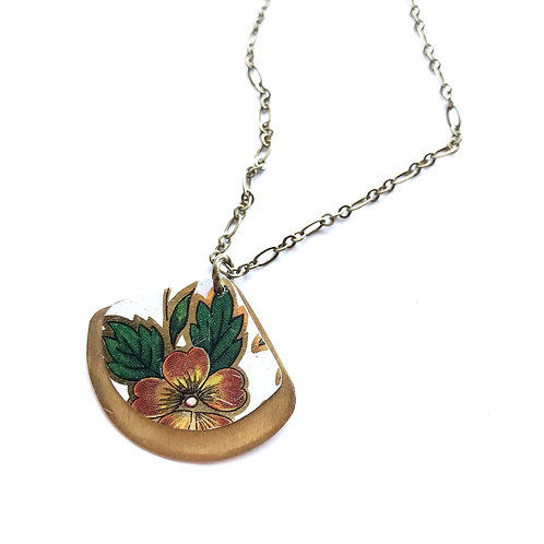Vintage Tin Necklace,  Reversible Fan Shape with Copper Flower