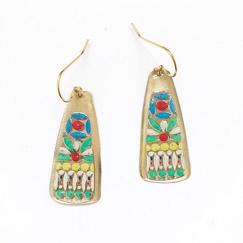 Vintage Tin Earrings, Resin Keys in Colorful Dot Design