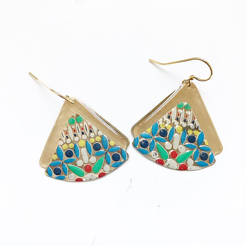 Vintage Tin Earrings, Resin, Stacked Fan in Colorful Pop