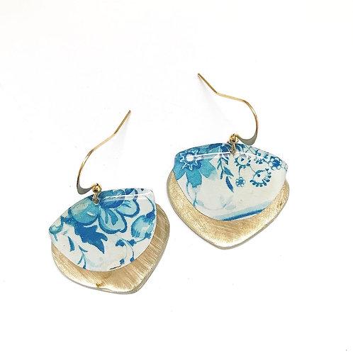 Vintage Tin Earrings, Resin Dangles, Gibbous Earrings in Blue and White Floral