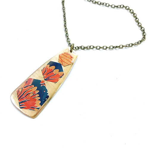 Vintage Tin Necklace, Resin, Key with Fiery Petals in Orange, Red and Navy