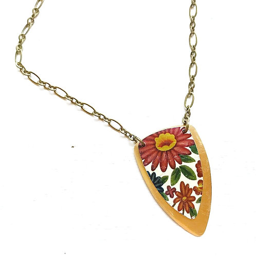 Vintage Tin Necklace Layered Arrow, Featuring Purple and Orange Flowers