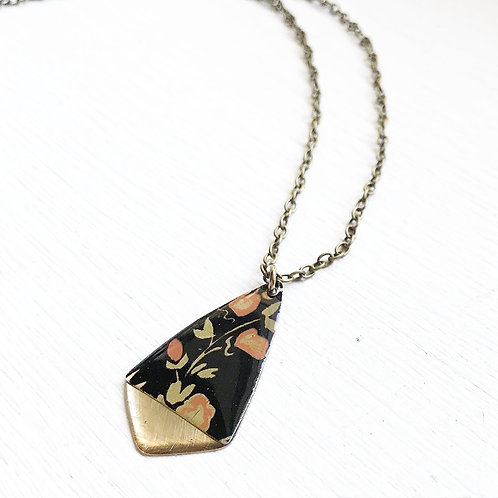 Vintage Tin Necklace, Resin Gold Tipped Drop in Black with Pink Flowers