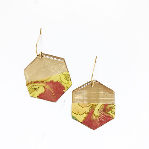 Vintage Tin Earrings, Resin Dangles, Hexigon in Rust and Yellow Petals